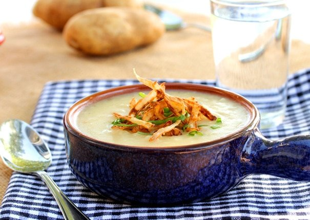 Roasted Garlic Potato Soup with Crispy Onions