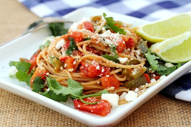 Tomato Garlic and Pasta on Plate