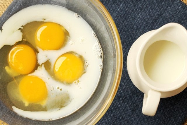 Milk and Eggs in bowl