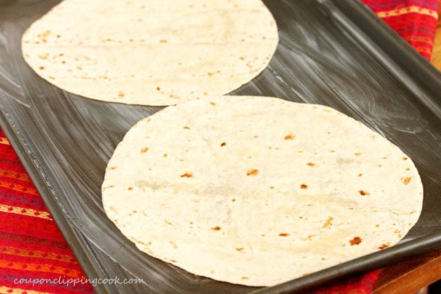 Flour tortillas on sheet pan