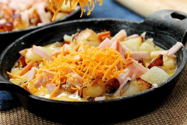 Cheese Eggs Potato in Skillet