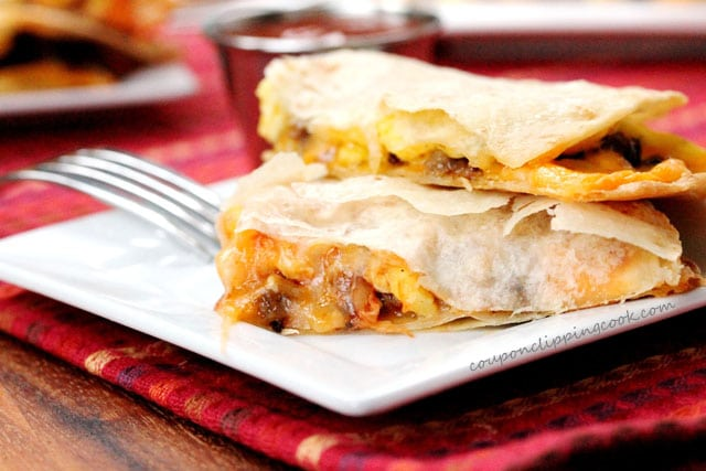 Crispy Breakfast Quesadillas on plate