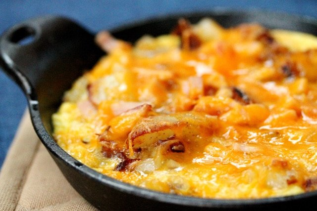 Potato Cheese Egg Scramble in pan