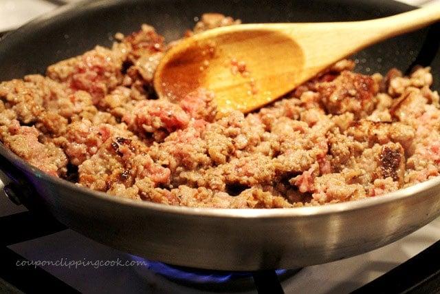 Cook sage sausage in skillet