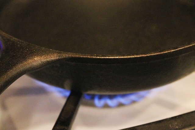 Iron Skillet on Stove Top