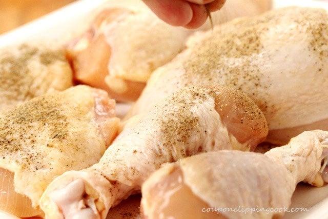 Add pepper to raw chicken