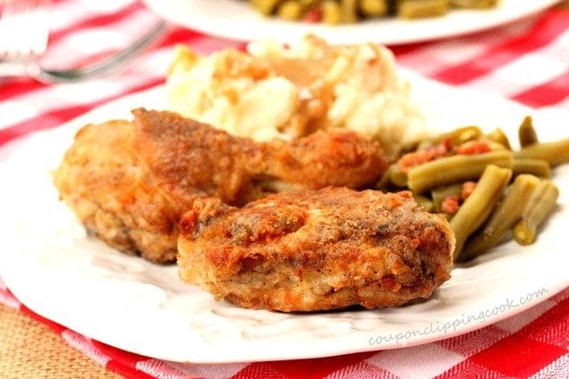 Fried chicken dinner on plate