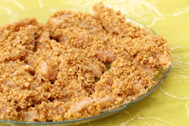 Nut Coated Chicken Pieces on Plate
