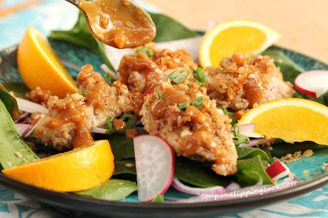 Peanut Sauce on Nut Crusted Chicken Salad
