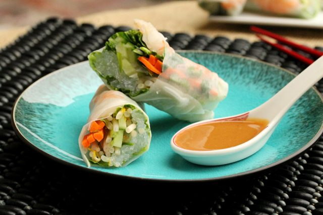 Fresh Spring Rolls with Shrimp on plate