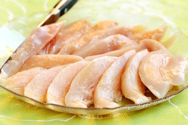 Cut pieces of raw chicken on plate