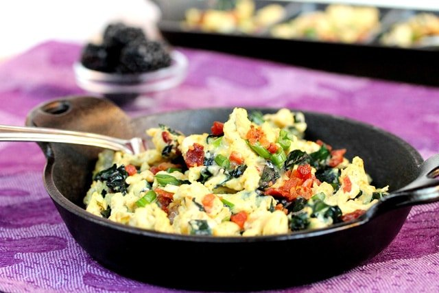 Bacon Kale and Swiss Cheese Egg Scramble