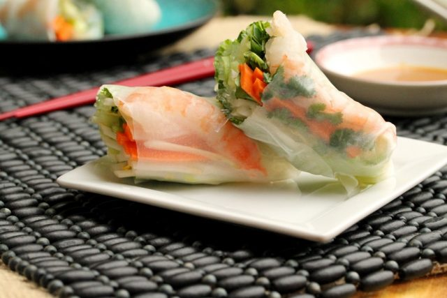 Fresh Spring Rolls with Shrimp and Vegetables on plate