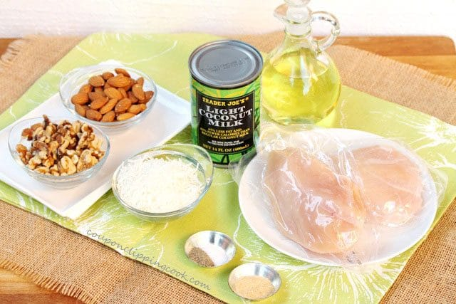 Ingredients for Nut Crusted Coconut Chicken