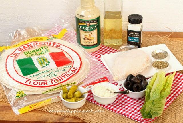 Chicken Caesar Salad Wrap ingredients