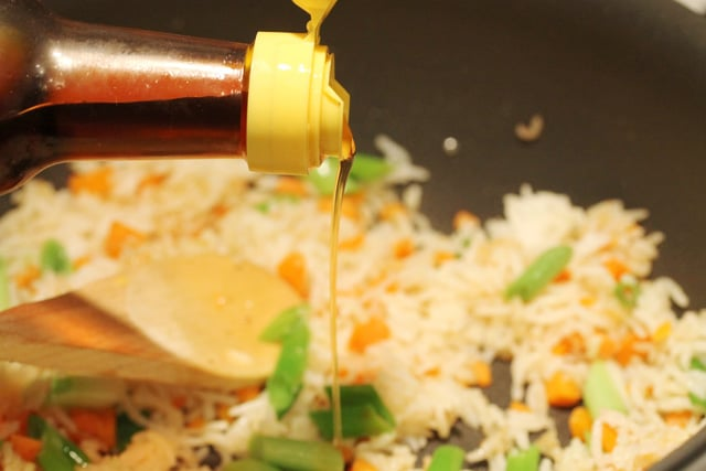 Add sesame oil in skillet