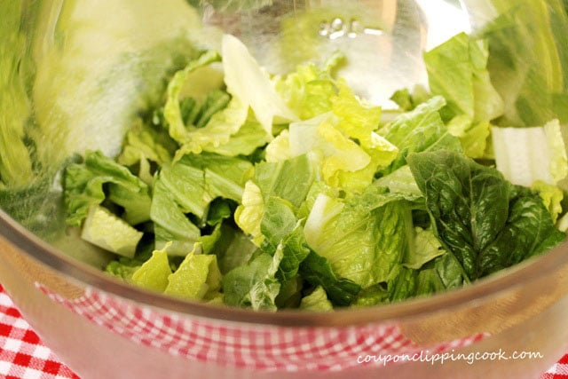 Cut Romaine lettuce in bowl