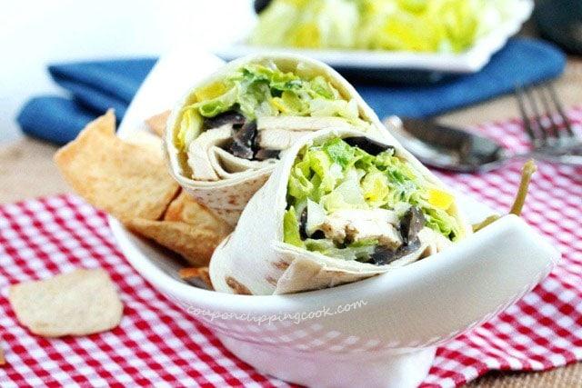 Chicken Caesar Salad Wraps in dish