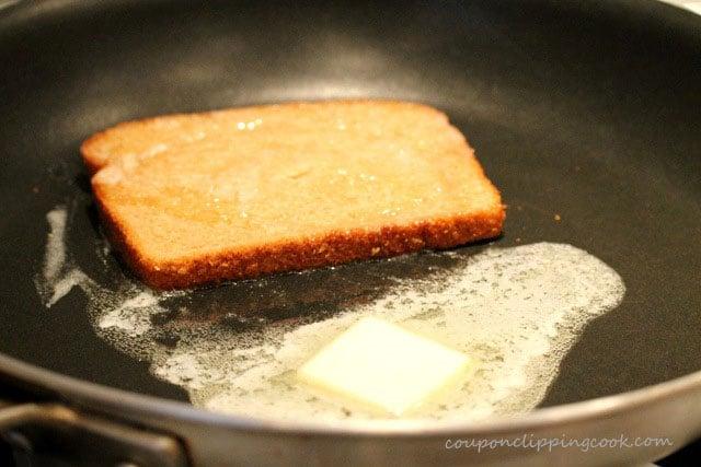 Slice of bread in skillet