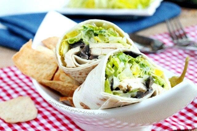 Chicken Caesar Salad Wrap in bowl