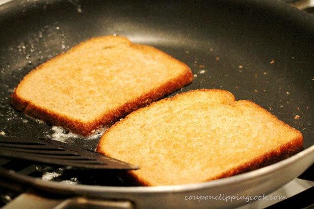 Slices of bread in skillet