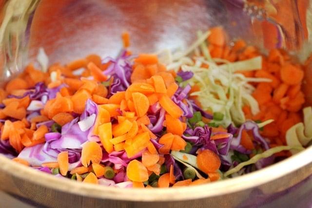 Coleslaw vegetables in bowl
