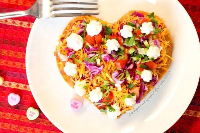 Valentine Heart Tostada on plate
