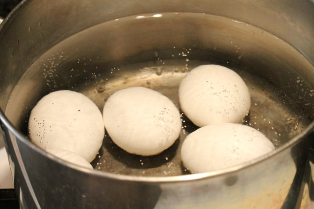 Hard boiled eggs in pot of water