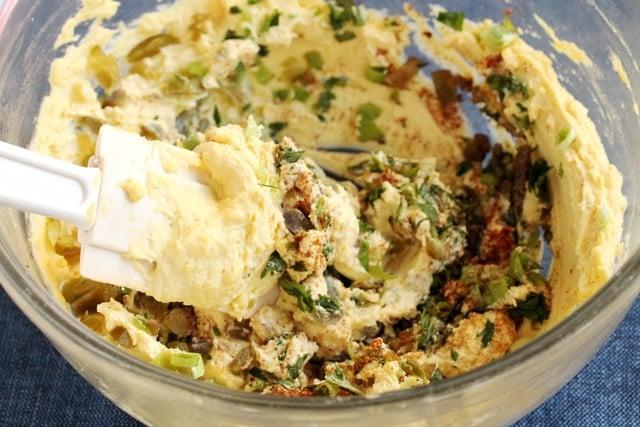 Mix deviled egg filling in bowl