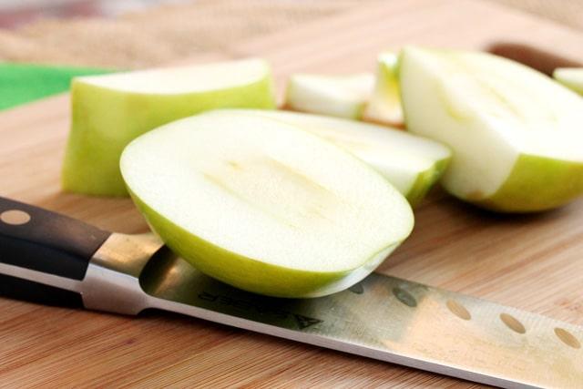 Cut apples on cutting board