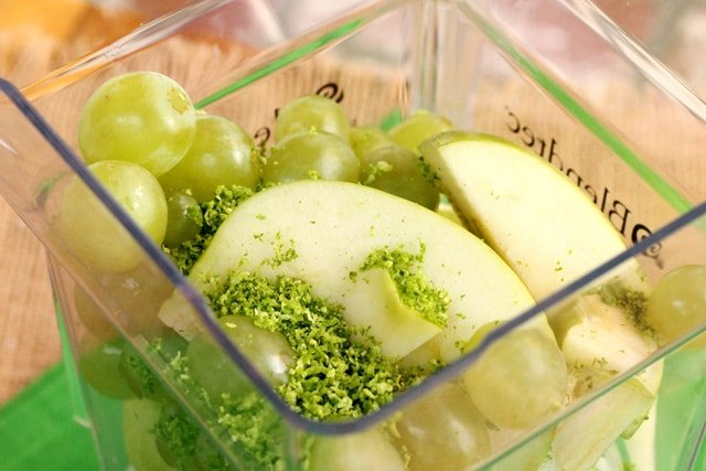Grapes Lime Zest and Apples in Blender