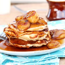 Double Banana Pancakes on Plate