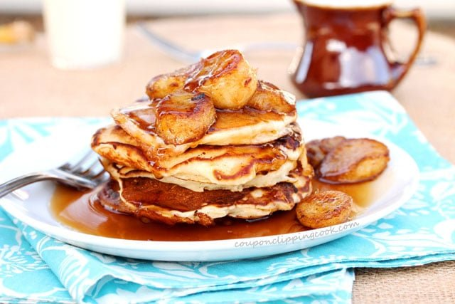 Double Banana Pancakes on Plate