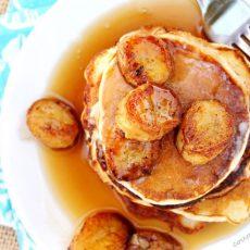Banana Pancakes on Plate