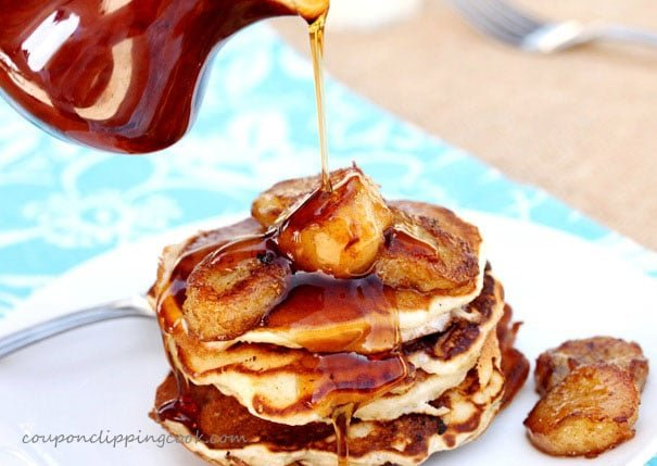 Pour Syrup on Pancakes