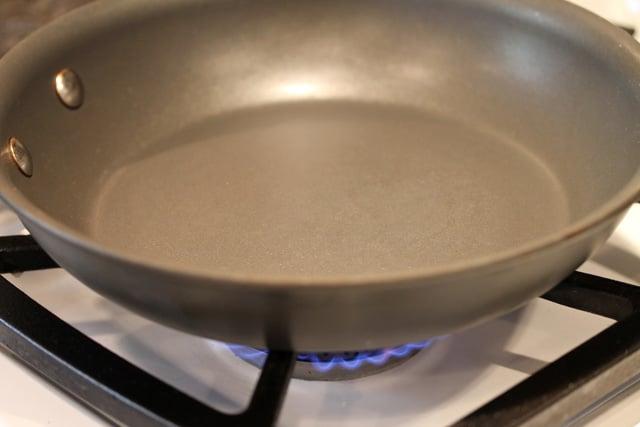 Skillet on burner on stove top