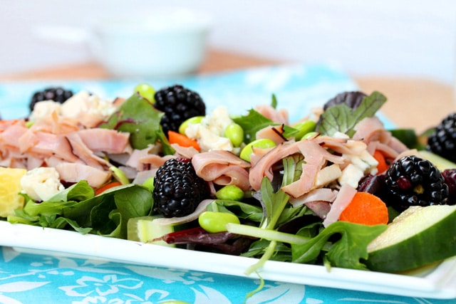 Blue Cheese and Ham Salad on plate