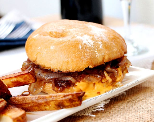 Cheeseburger with Sautéed Onions
