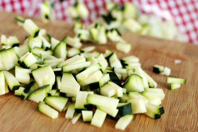 Add chopped zucchini to bowl