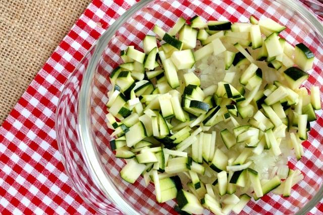 Chopped zucchini in bowl