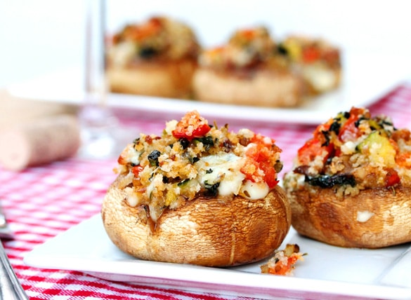 Bacon and Vegetable Stuffed Mushrooms on plate