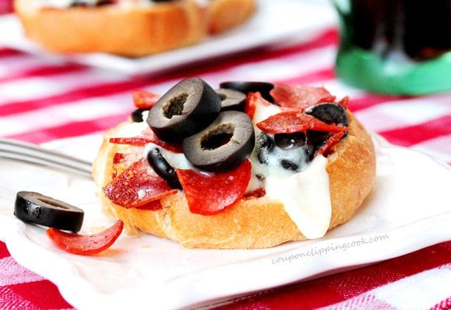 Mini Kaiser Roll Pizza on plate