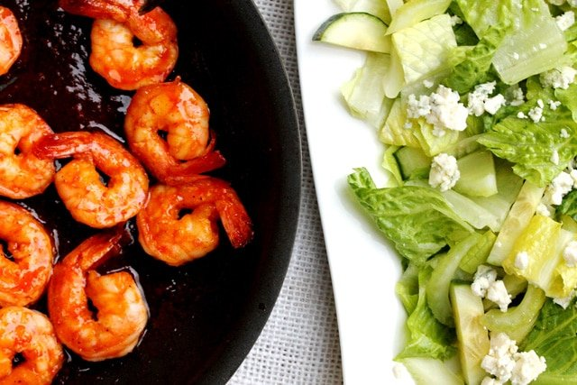 Sriracha Shrimp and Salad on plate