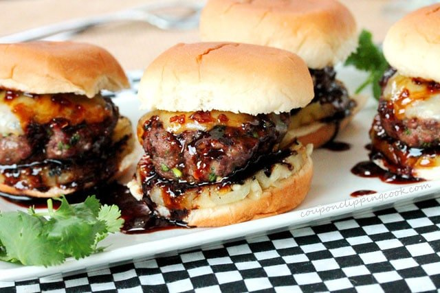 Teriyaki Cilantro Burger Sliders with Pineapple on plate
