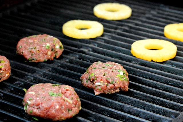 Grill hamburger and pineapple on BBQ