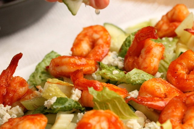 Add lime juice on Sriracha Shrimp Salad