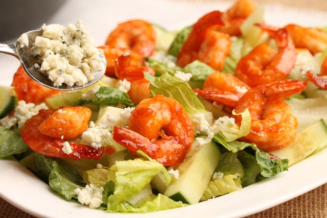Add blue cheese on sriracha shrimp salad