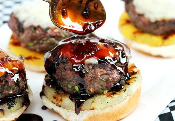 Drizzle teriyaki sauce on burger