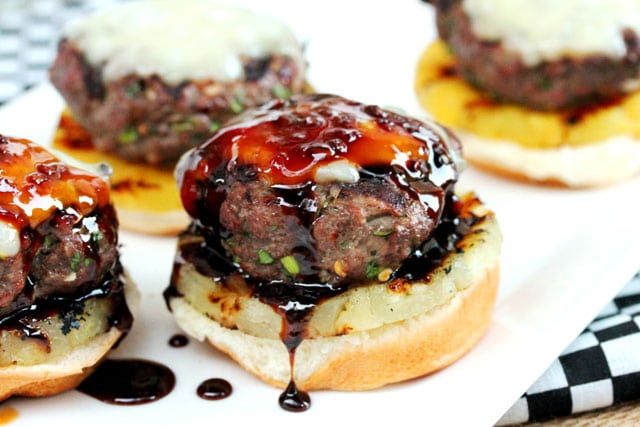 Teriyaki sauce on slider hamburger patty on bun