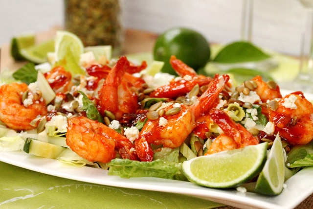 Sriracha Honey Shrimp Salad on plate